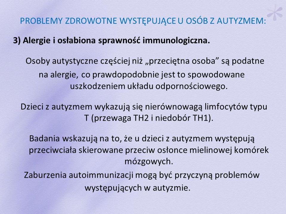 PROBLEMY ZDROWOTNE WYSTĘPUJĄCE U OSÓB Z AUTYZMEM: 3) Alergie i osłabiona sprawność immunologiczna.