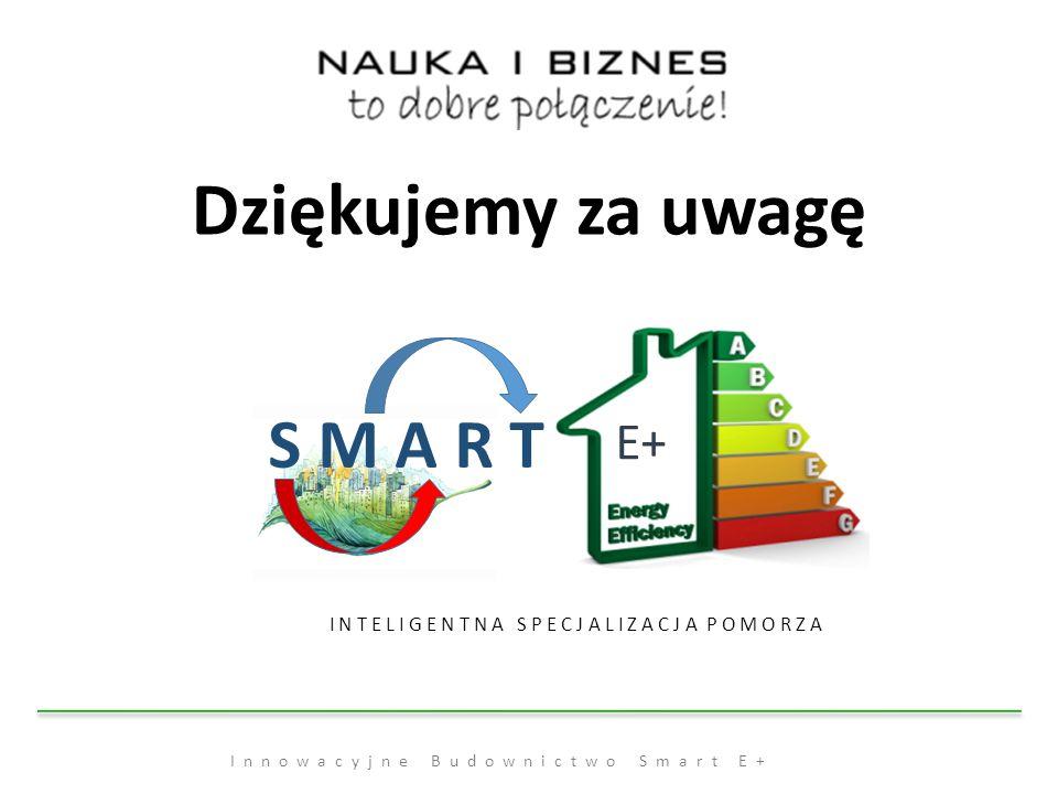 Innowacyjne Budownictwo Smart E+ Dziękujemy za uwagę S M A R T E+ I N T E L I G E N T N A S P E C J A L I Z A C J A P O M O R Z A