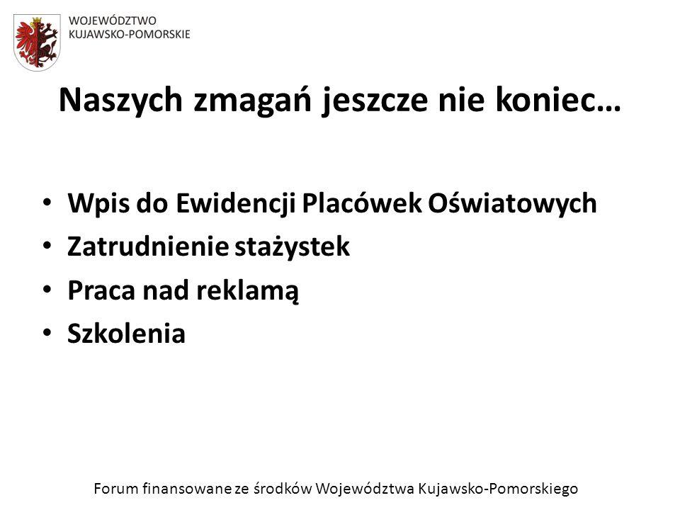 Forum finansowane ze środków Województwa Kujawsko-Pomorskiego Naszych zmagań jeszcze nie koniec… Wpis do Ewidencji Placówek Oświatowych Zatrudnienie s