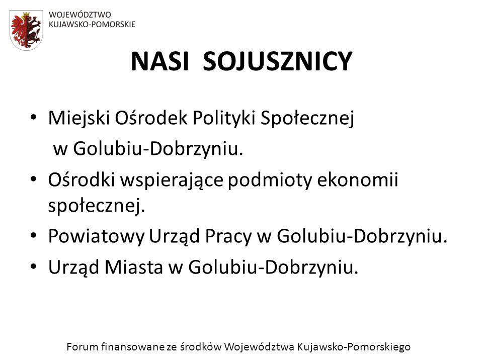 Forum finansowane ze środków Województwa Kujawsko-Pomorskiego NASI SOJUSZNICY Miejski Ośrodek Polityki Społecznej w Golubiu-Dobrzyniu. Ośrodki wspiera