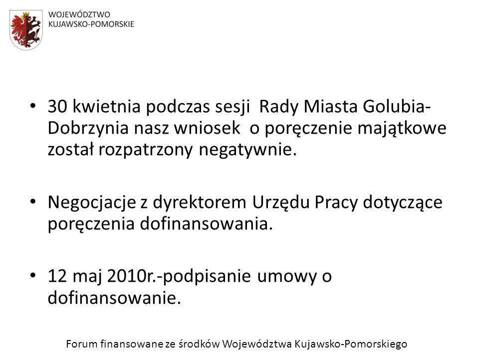 Forum finansowane ze środków Województwa Kujawsko-Pomorskiego 30 kwietnia podczas sesji Rady Miasta Golubia- Dobrzynia nasz wniosek o poręczenie mająt