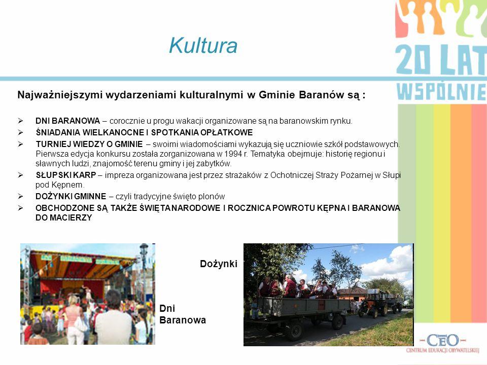 Kultura Najważniejszymi wydarzeniami kulturalnymi w Gminie Baranów są :  DNI BARANOWA – corocznie u progu wakacji organizowane są na baranowskim rynk