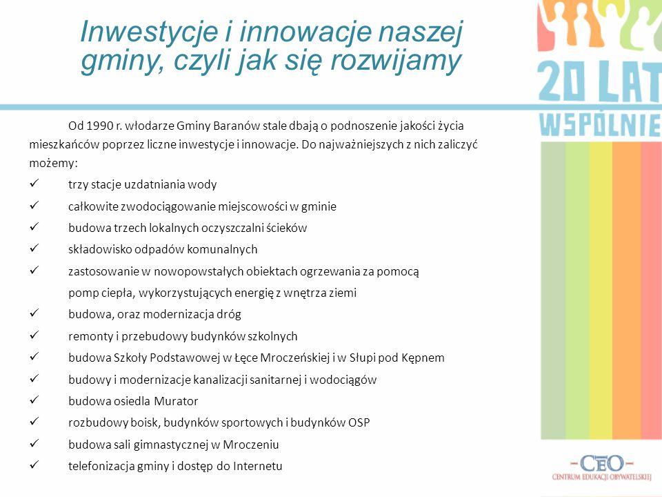 Inwestycje i innowacje naszej gminy, czyli jak się rozwijamy Od 1990 r. włodarze Gminy Baranów stale dbają o podnoszenie jakości życia mieszkańców pop