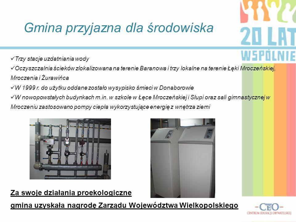 Gmina przyjazna dla środowiska Trzy stacje uzdatniania wody Oczyszczalnia ścieków zlokalizowana na terenie Baranowa i trzy lokalne na terenie Łęki Mro