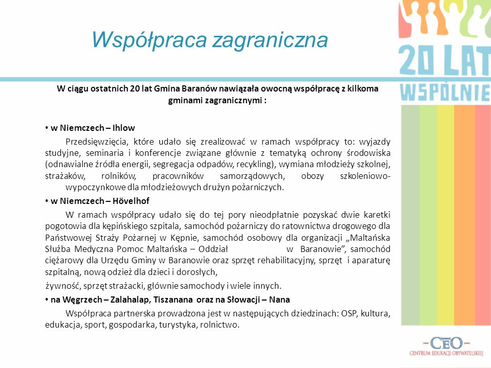 W ciągu ostatnich 20 lat Gmina Baranów nawiązała owocną współpracę z kilkoma gminami zagranicznymi : w Niemczech – Ihlow Przedsięwzięcia, które udało