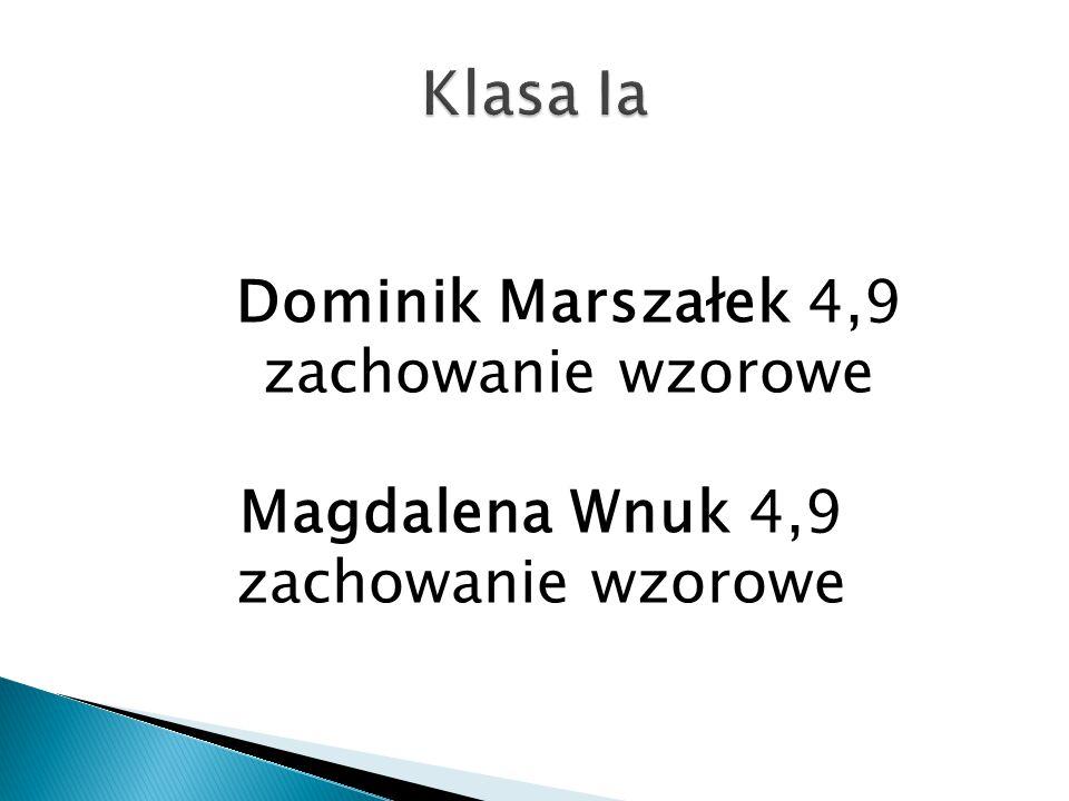 Dominik Marszałek 4,9 zachowanie wzorowe Magdalena Wnuk 4,9 zachowanie wzorowe