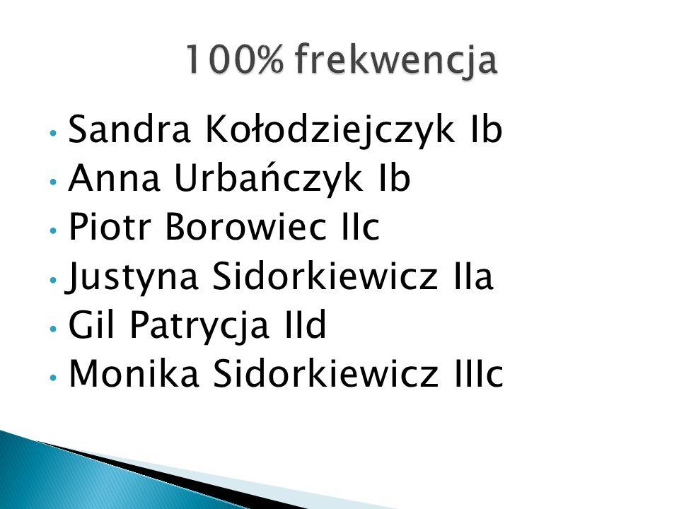 Sandra Kołodziejczyk Ib Anna Urbańczyk Ib Piotr Borowiec IIc Justyna Sidorkiewicz IIa Gil Patrycja IId Monika Sidorkiewicz IIIc