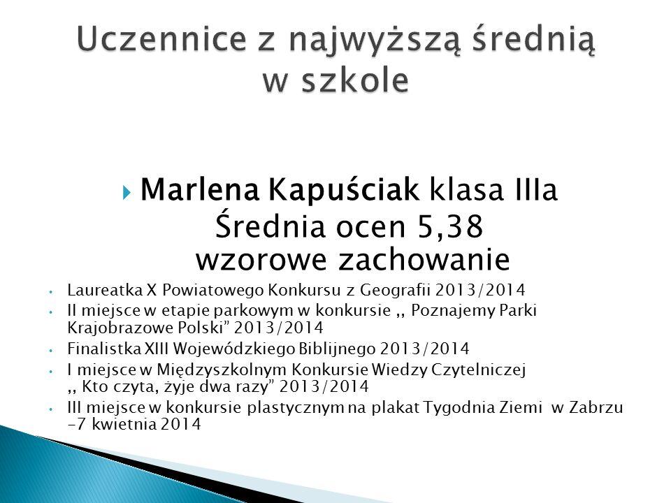  Średnia ocen 5,38 zachowanie wzorowe za pracę w Samorządzie Uczniowskim, zaangażowanie w życie szkoły, obsługę techniczną sprzętu, organizację uroczystości szkolnych i pomoc w pracach na świetlicy szkolnej.
