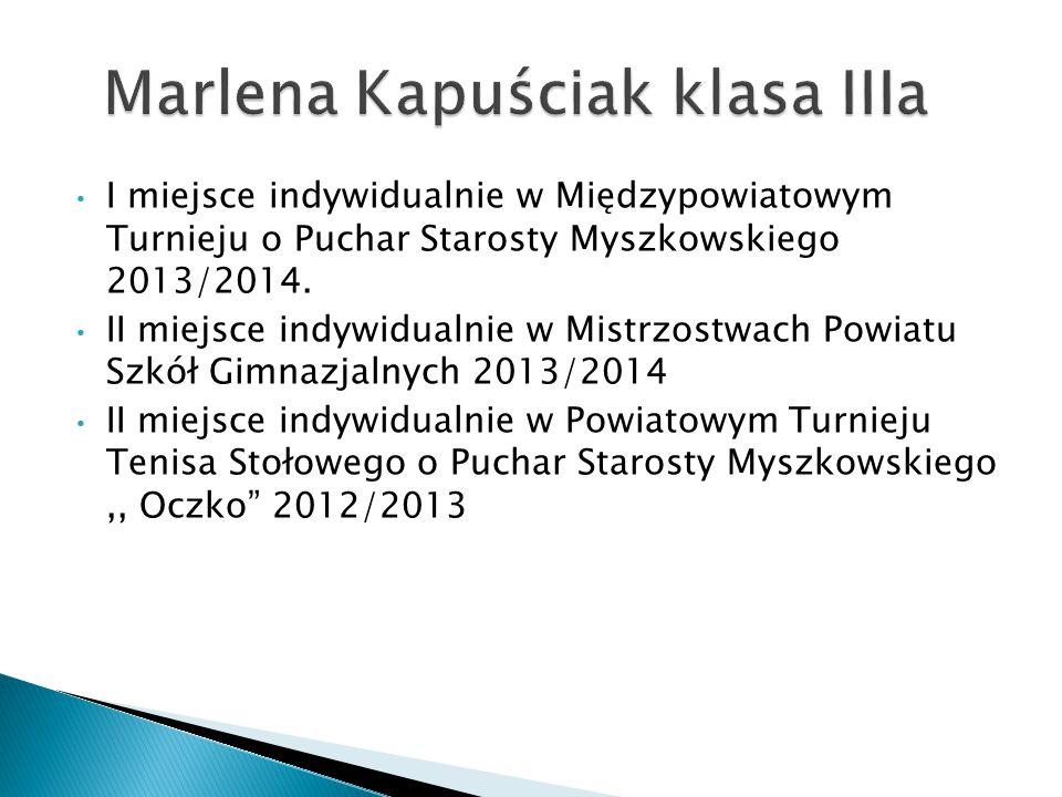 I miejsce indywidualnie w Międzypowiatowym Turnieju o Puchar Starosty Myszkowskiego 2013/2014.