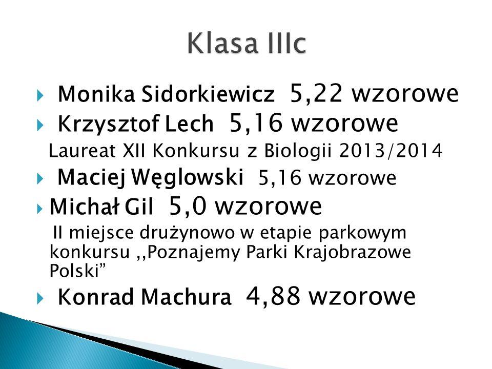  Monika Sidorkiewicz 5,22 wzorowe  Krzysztof Lech 5,16 wzorowe Laureat XII Konkursu z Biologii 2013/2014  Maciej Węglowski 5,16 wzorowe  Michał Gil 5,0 wzorowe II miejsce drużynowo w etapie parkowym konkursu,,Poznajemy Parki Krajobrazowe Polski  Konrad Machura 4,88 wzorowe