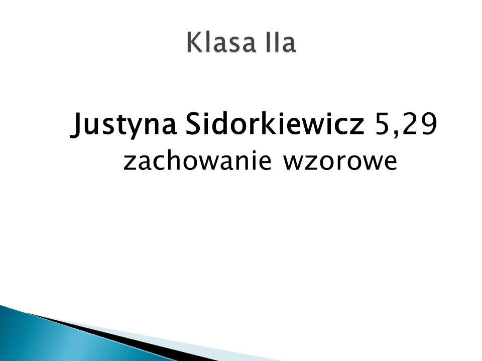 Justyna Sidorkiewicz 5,29 zachowanie wzorowe