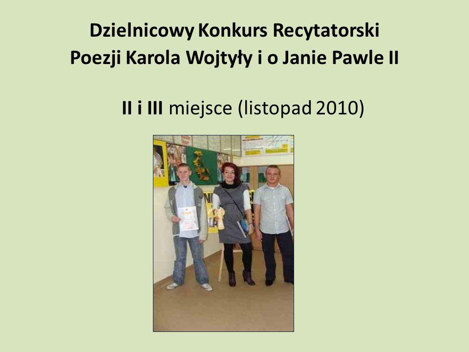 Wojewódzki konkurs Moja wiedza o II wojnie światowej wyróżnienie (październik 2010)