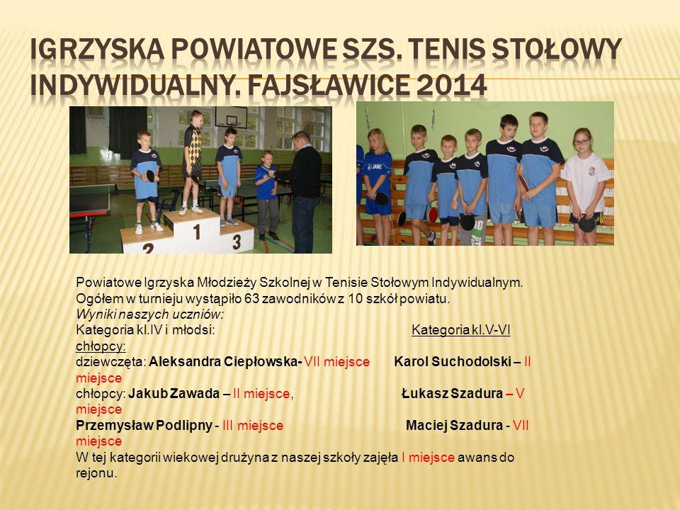 Powiatowe Igrzyska Młodzieży Szkolnej w Tenisie Stołowym Indywidualnym.