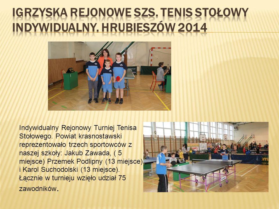 Powiatowe Igrzyska Młodzieży Szkolnej w Tenisie Stołowym Indywidualnym. Ogółem w turnieju wystąpiło 63 zawodników z 10 szkół powiatu. Wyniki naszych u