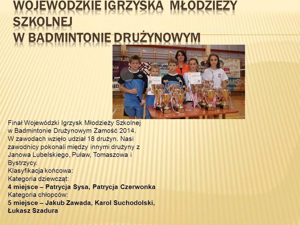 Rejonowe Igrzyska SZS w Badmintonie Drużynowym dziewcząt i chłopców Zamość 2014. Drużyna dziewcząt w składzie: Patrycja Sysa i Patrycja Czerwonka -II