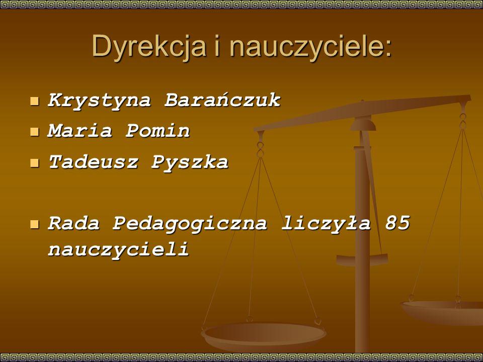 Dyrekcja i nauczyciele: Krystyna Barańczuk Krystyna Barańczuk Maria Pomin Maria Pomin Tadeusz Pyszka Tadeusz Pyszka Rada Pedagogiczna liczyła 85 nauczycieli Rada Pedagogiczna liczyła 85 nauczycieli