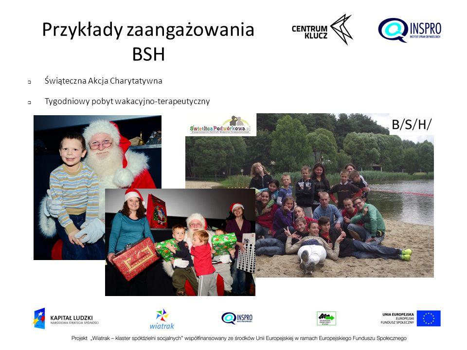 Przykłady zaangażowania BSH  Świąteczna Akcja Charytatywna  Tygodniowy pobyt wakacyjno-terapeutyczny
