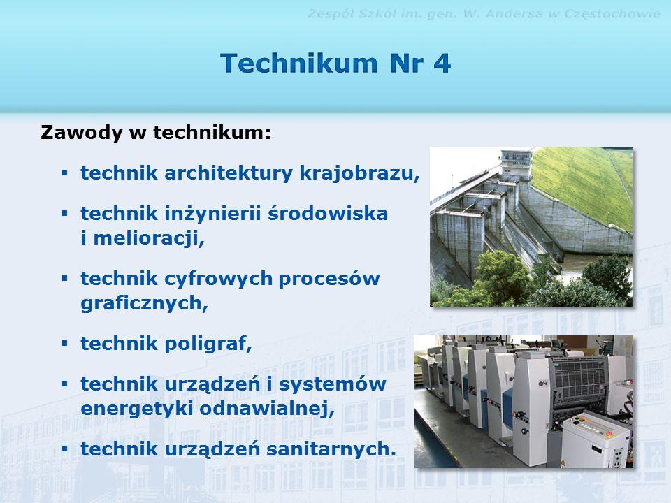 Zawody w technikum:  technik architektury krajobrazu,  technik inżynierii środowiska i melioracji,  technik cyfrowych procesów graficznych,  technik poligraf,  technik urządzeń i systemów energetyki odnawialnej,  technik urządzeń sanitarnych.