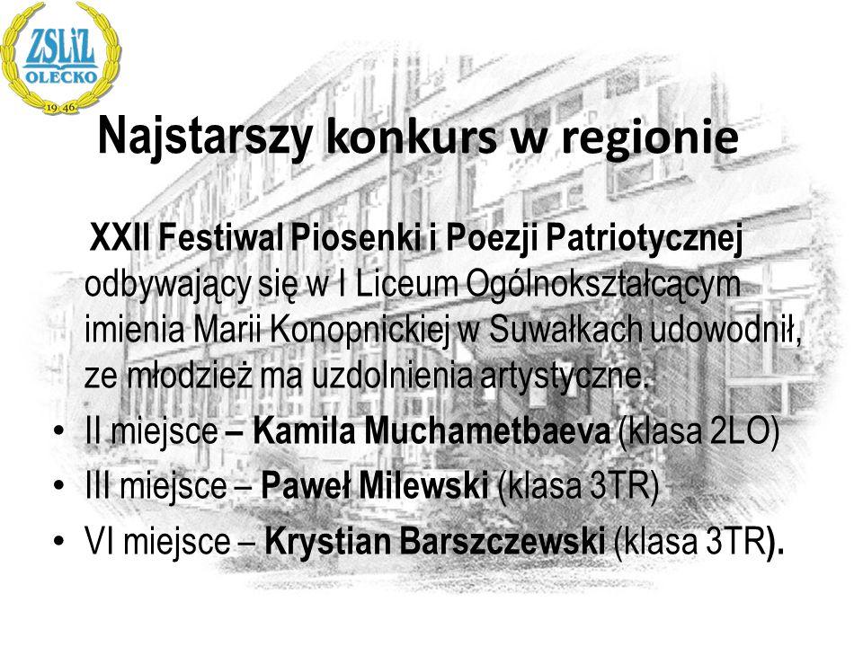 Najstarszy konkurs w regionie XXII Festiwal Piosenki i Poezji Patriotycznej odbywający się w I Liceum Ogólnokształcącym imienia Marii Konopnickiej w S