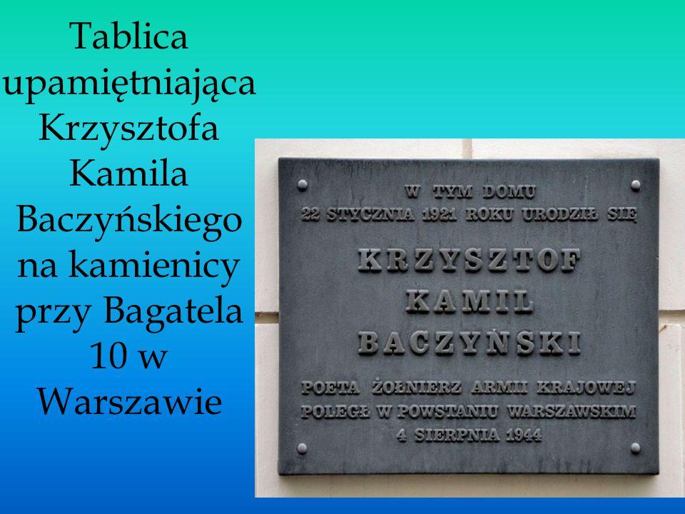 Tablica upamiętniająca Krzysztofa Kamila Baczyńskiego na kamienicy przy Bagatela 10 w Warszawie