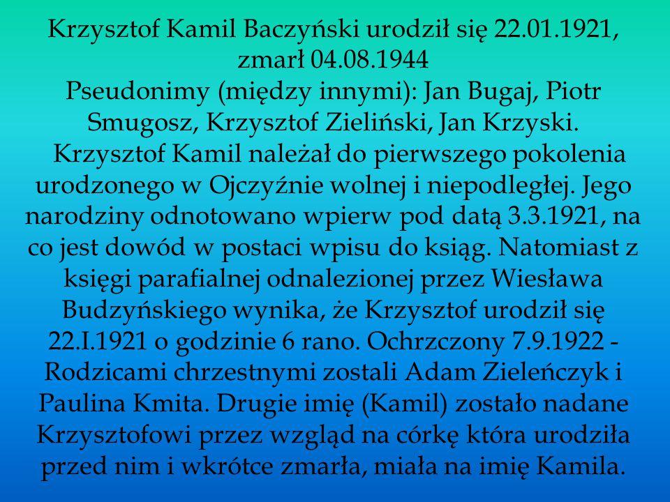 Krzysztof Kamil Baczyński urodził się 22.01.1921, zmarł 04.08.1944 Pseudonimy (między innymi): Jan Bugaj, Piotr Smugosz, Krzysztof Zieliński, Jan Krzy