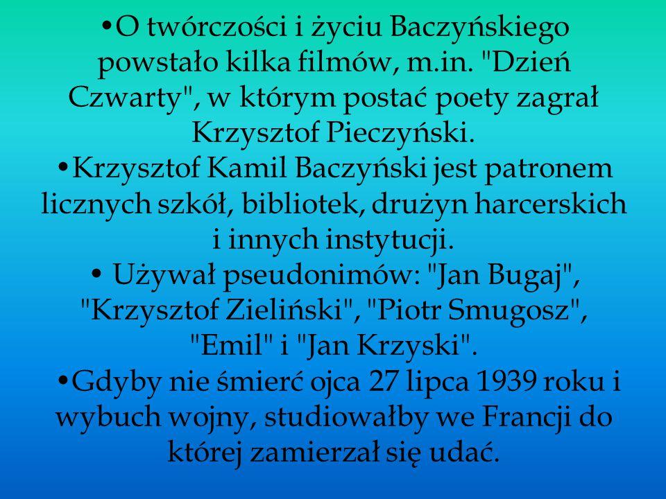 O twórczości i życiu Baczyńskiego powstało kilka filmów, m.in.