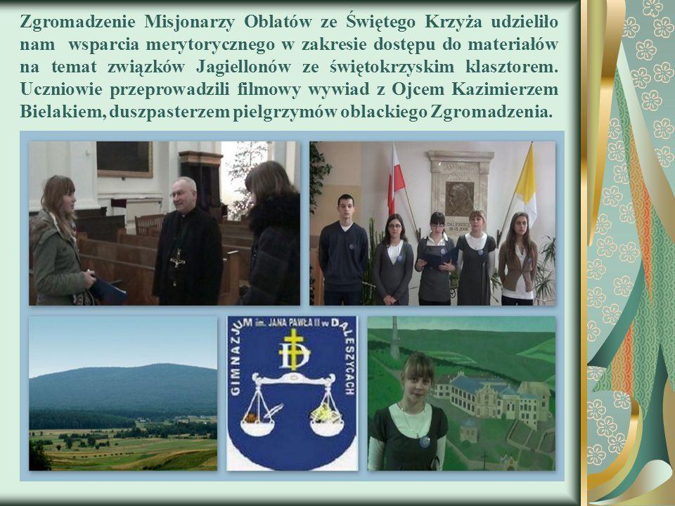 Zgromadzenie Misjonarzy Oblatów ze Świętego Krzyża udzieliło nam wsparcia merytorycznego w zakresie dostępu do materiałów na temat związków Jagiellonó