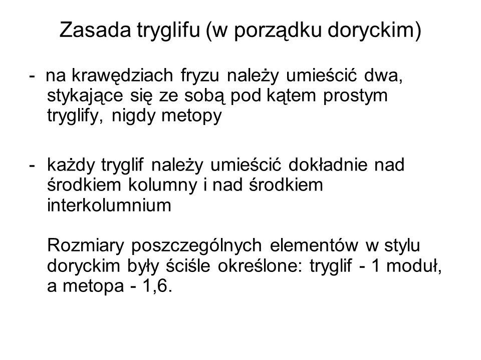 Zasada tryglifu (w porządku doryckim) - na krawędziach fryzu należy umieścić dwa, stykające się ze sobą pod kątem prostym tryglify, nigdy metopy -każdy tryglif należy umieścić dokładnie nad środkiem kolumny i nad środkiem interkolumnium Rozmiary poszczególnych elementów w stylu doryckim były ściśle określone: tryglif - 1 moduł, a metopa - 1,6.