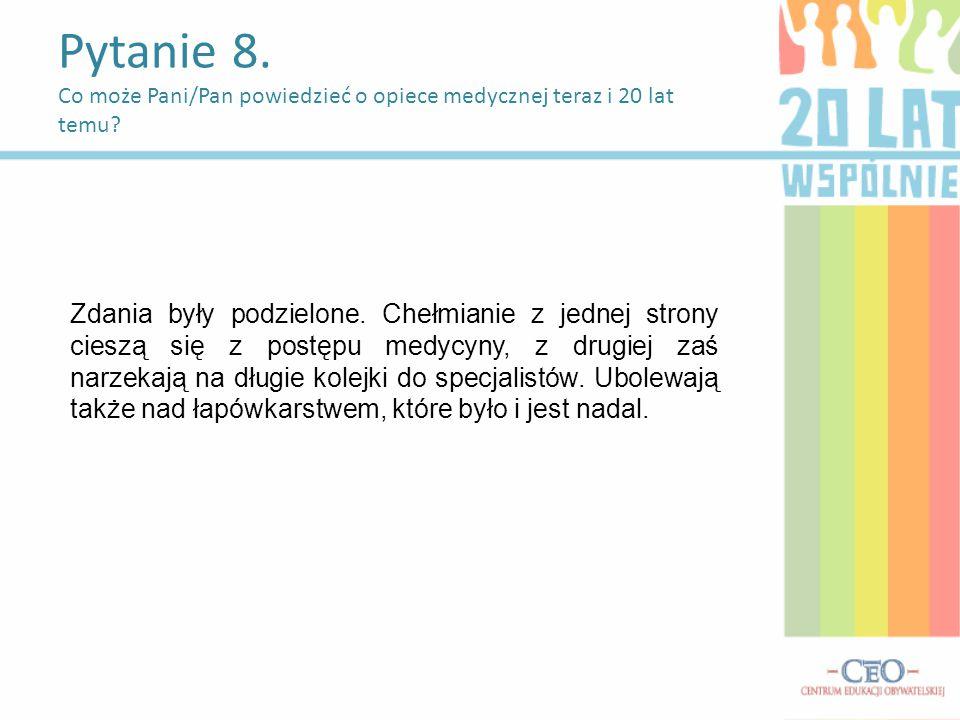 Pytanie 8. Co może Pani/Pan powiedzieć o opiece medycznej teraz i 20 lat temu.