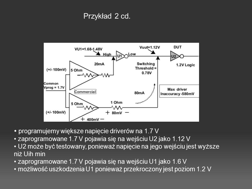 Przykład 2 cd. programujemy większe napięcie driverów na 1.7 V zaprogramowane 1.7 V pojawia się na wejściu U2 jako 1.12 V U2 może być testowany, ponie