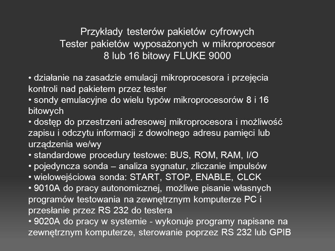 Przykłady testerów pakietów cyfrowych Tester pakietów wyposażonych w mikroprocesor 8 lub 16 bitowy FLUKE 9000 działanie na zasadzie emulacji mikroproc