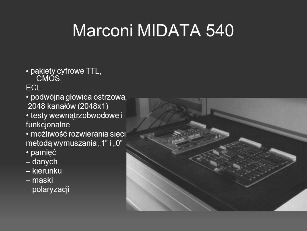 Marconi MIDATA 540 pakiety cyfrowe TTL, CMOS, ECL podwójna głowica ostrzowa, 2048 kanałów (2048x1) testy wewnątrzobwodowe i funkcjonalne możliwość roz
