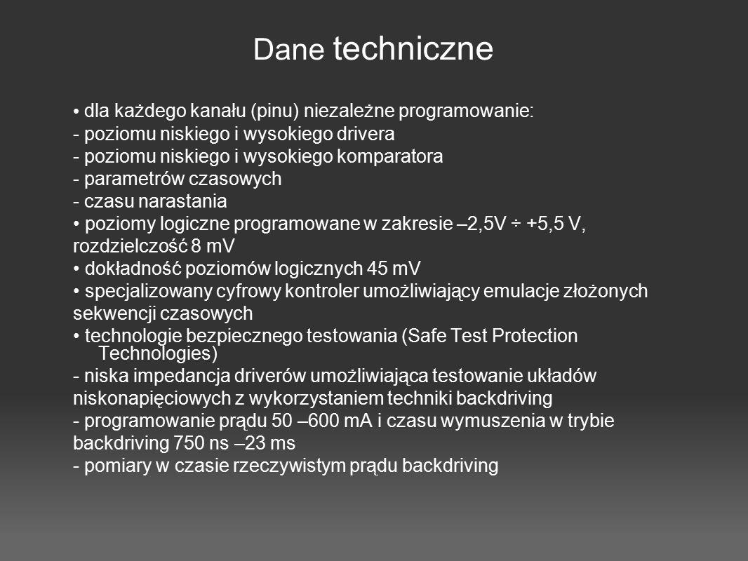 Dane techniczne dla każdego kanału (pinu) niezależne programowanie: - poziomu niskiego i wysokiego drivera - poziomu niskiego i wysokiego komparatora
