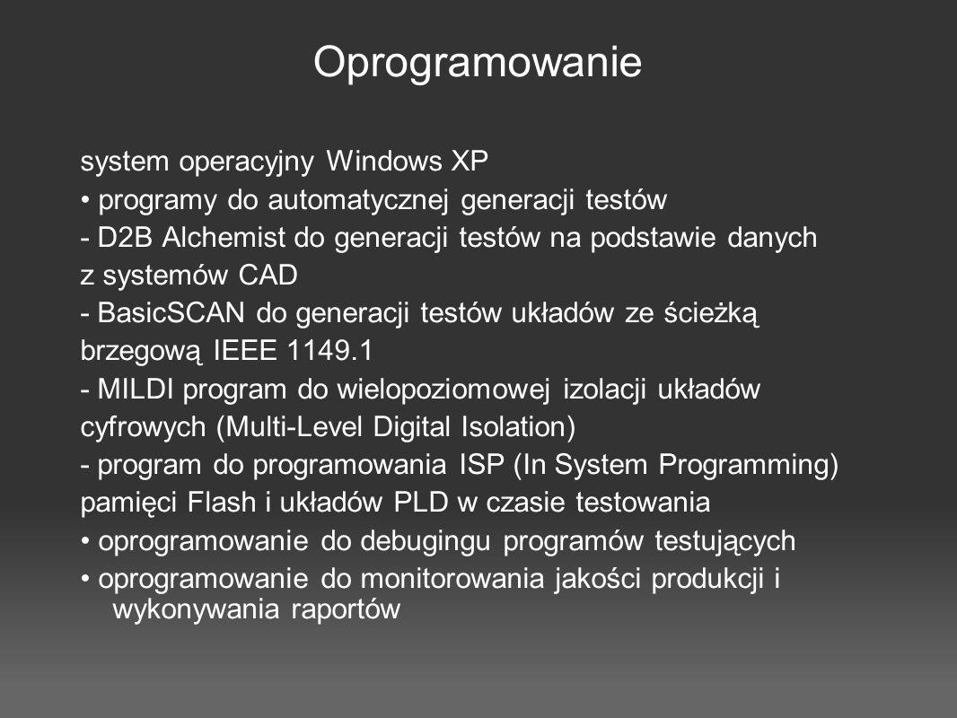 Oprogramowanie system operacyjny Windows XP programy do automatycznej generacji testów - D2B Alchemist do generacji testów na podstawie danych z syste