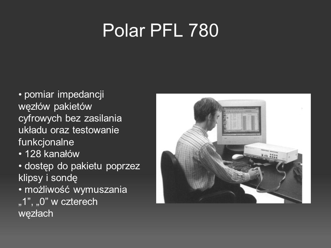 Polar PFL 780 pomiar impedancji węzłów pakietów cyfrowych bez zasilania układu oraz testowanie funkcjonalne 128 kanałów dostęp do pakietu poprzez klip
