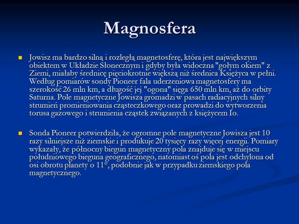 Magnosfera Jowisz ma bardzo silną i rozległą magnetosferę, która jest największym obiektem w Układzie Słonecznym i gdyby była widoczna