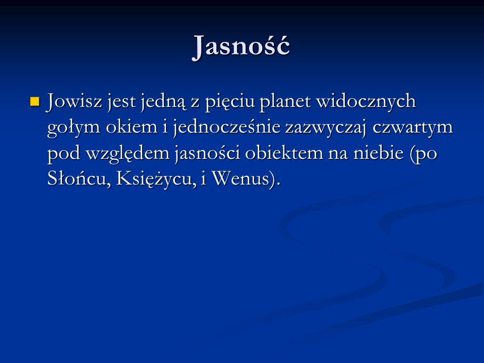 Jasność Jowisz jest jedną z pięciu planet widocznych gołym okiem i jednocześnie zazwyczaj czwartym pod względem jasności obiektem na niebie (po Słońcu