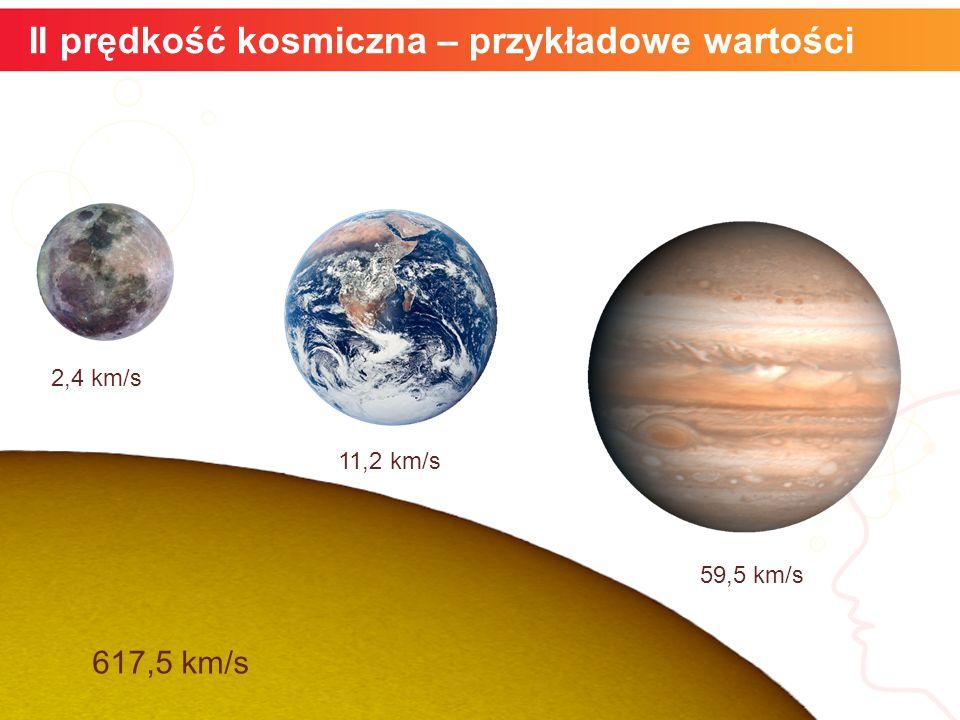 II prędkość kosmiczna – przykładowe wartości informatyka + 2,4 km/s 59,5 km/s 617,5 km/s 11,2 km/s