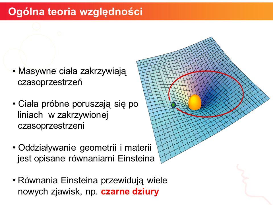 Ogólna teoria względności informatyka + Masywne ciała zakrzywiają czasoprzestrzeń Ciała próbne poruszają się po liniach w zakrzywionej czasoprzestrzeni Oddziaływanie geometrii i materii jest opisane równaniami Einsteina Równania Einsteina przewidują wiele nowych zjawisk, np.
