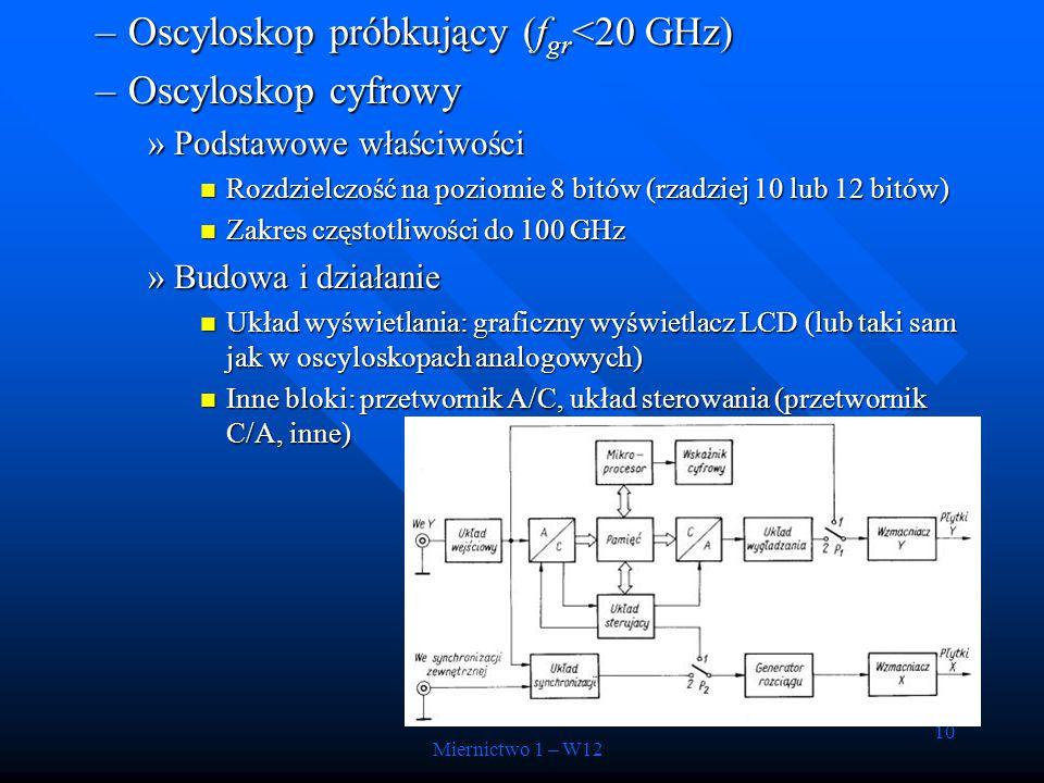 10 –Oscyloskop próbkujący (f gr <20 GHz) –Oscyloskop cyfrowy »Podstawowe właściwości Rozdzielczość na poziomie 8 bitów (rzadziej 10 lub 12 bitów) Rozd