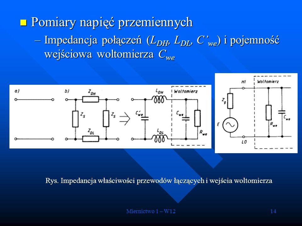 Miernictwo 1 – W1214 Pomiary napięć przemiennych Pomiary napięć przemiennych –Impedancja połączeń (L DH, L DL, C' we ) i pojemność wejściowa woltomier