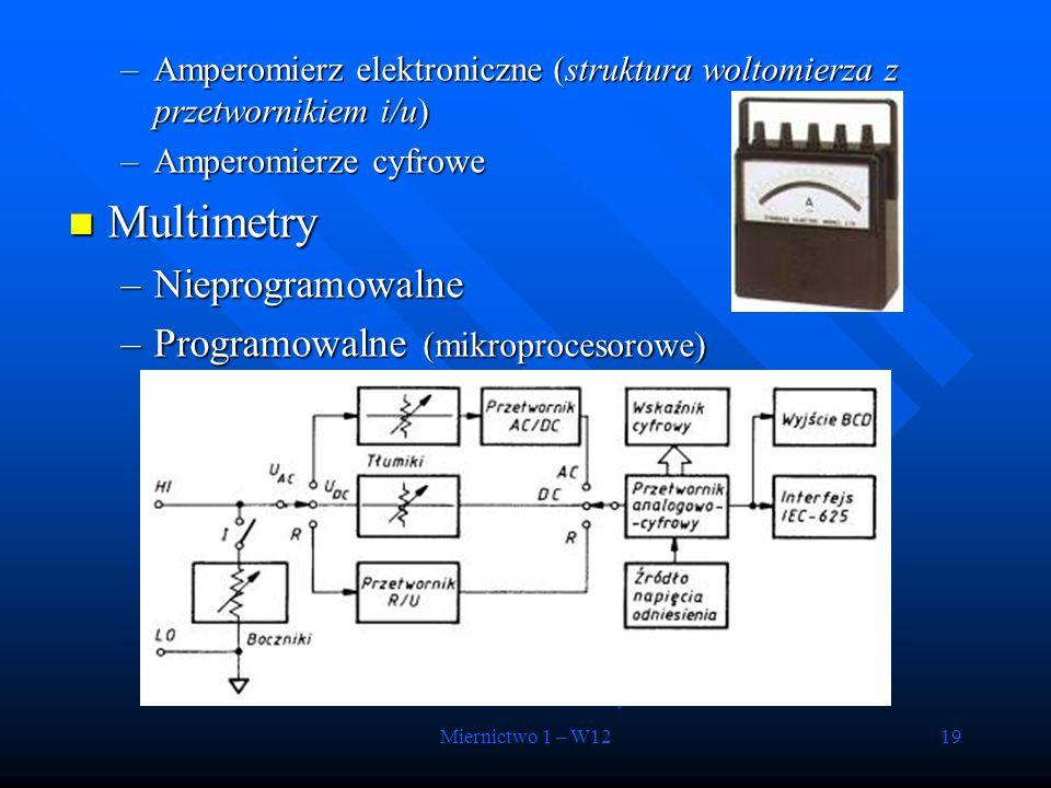Miernictwo 1 – W1219 –Amperomierz elektroniczne (struktura woltomierza z przetwornikiem i/u) –Amperomierze cyfrowe Multimetry Multimetry –Nieprogramow