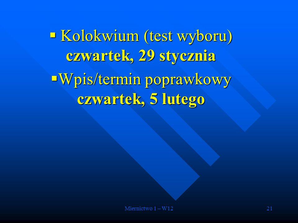 Miernictwo 1 – W1221  Kolokwium (test wyboru) czwartek, 29 stycznia  Wpis/termin poprawkowy czwartek, 5 lutego