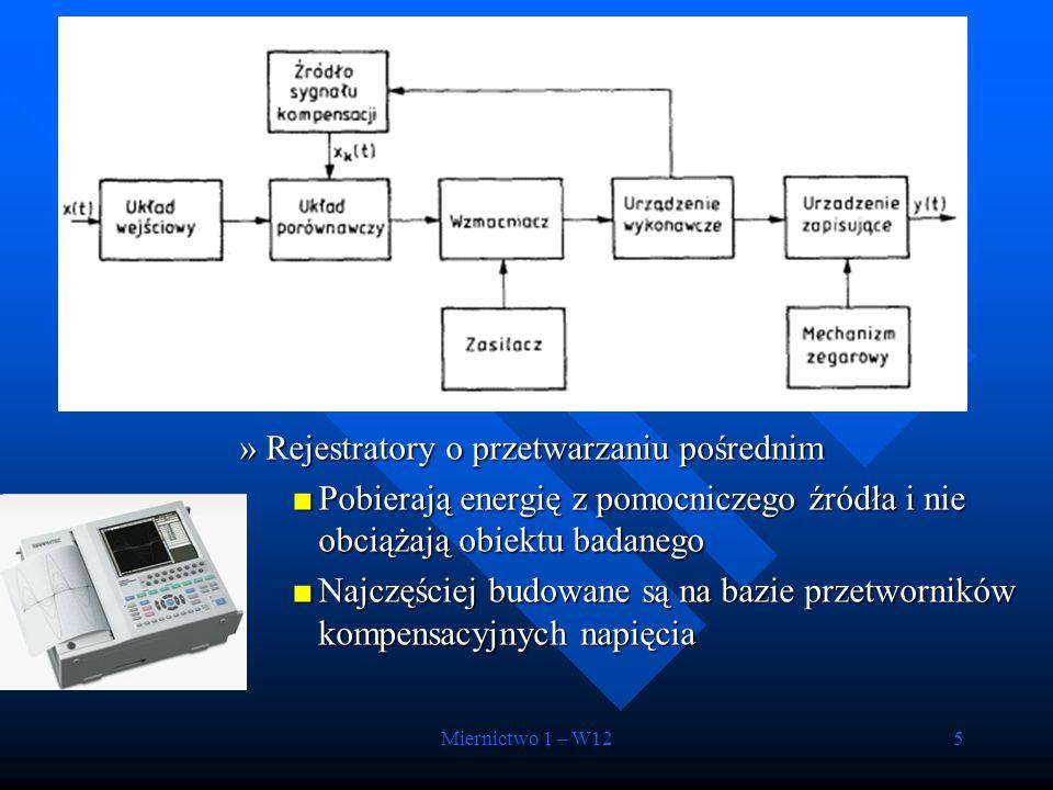 Miernictwo 1 – W126 –Rejestratory elektromechaniczne X-Y –Rejestratory z taśmą magnetyczną (f gr <10 MHz) –Rejestratory cyfrowe