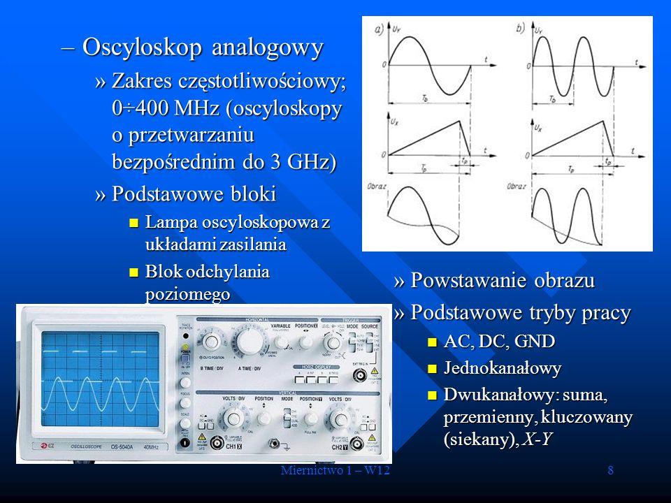 Miernictwo 1 – W128 –Oscyloskop analogowy »Zakres częstotliwościowy; 0÷400 MHz (oscyloskopy o przetwarzaniu bezpośrednim do 3 GHz) »Podstawowe bloki L