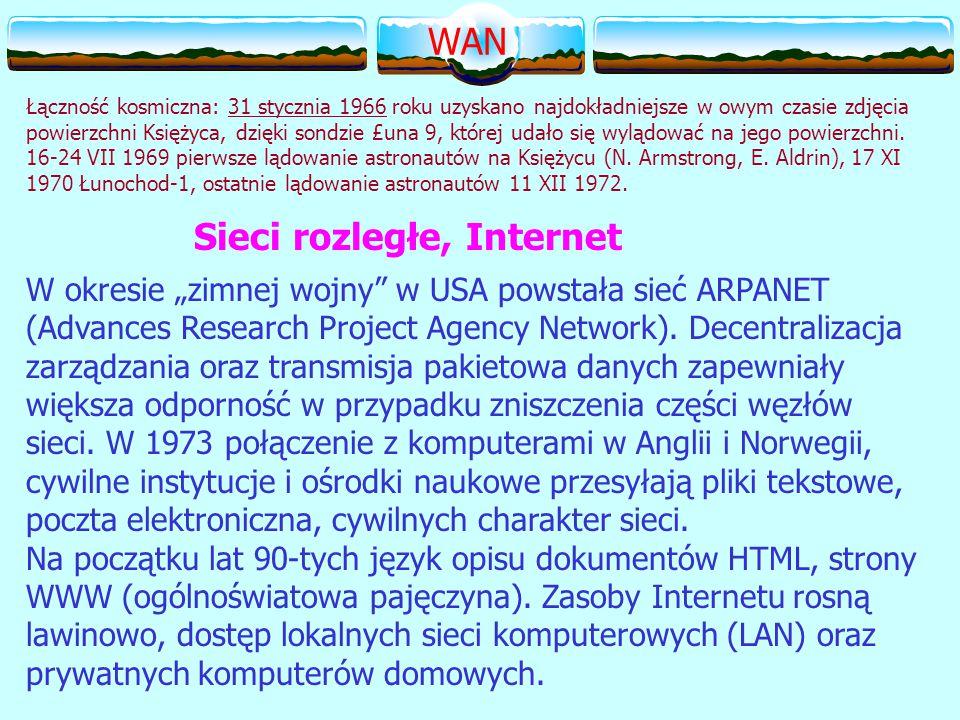 """W okresie """"zimnej wojny w USA powstała sieć ARPANET (Advances Research Project Agency Network)."""