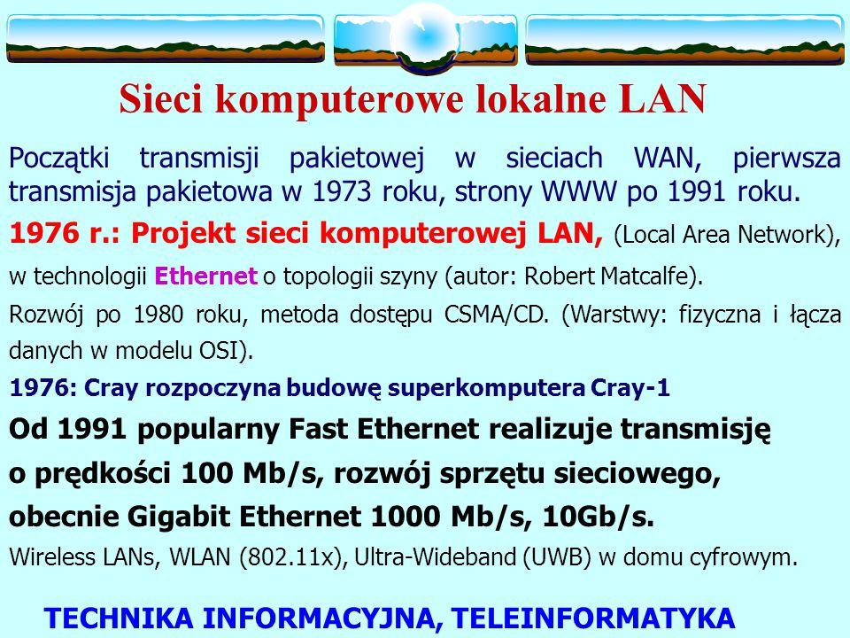 Sieci komputerowe lokalne LAN Początki transmisji pakietowej w sieciach WAN, pierwsza transmisja pakietowa w 1973 roku, strony WWW po 1991 roku.