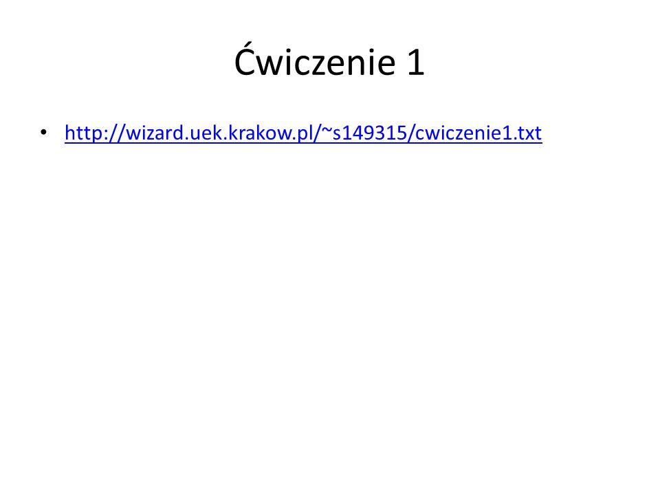 Ćwiczenie 1 http://wizard.uek.krakow.pl/~s149315/cwiczenie1.txt