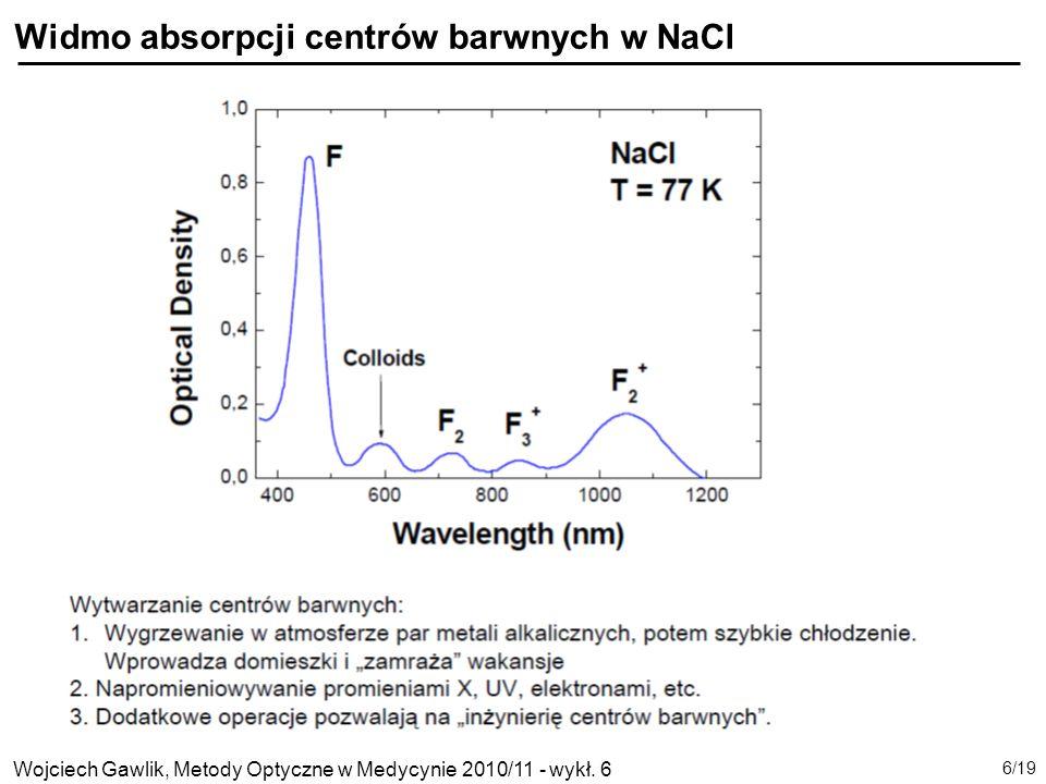 Wojciech Gawlik, Metody Optyczne w Medycynie 2010/11 - wykł. 6 7/19 Energie stanów centrów barwnych