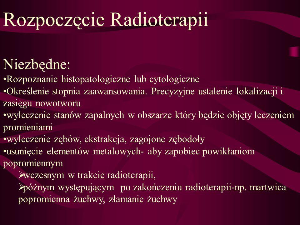 Rozpoczęcie Radioterapii Niezbędne: Rozpoznanie histopatologiczne lub cytologiczne Określenie stopnia zaawansowania. Precyzyjne ustalenie lokalizacji